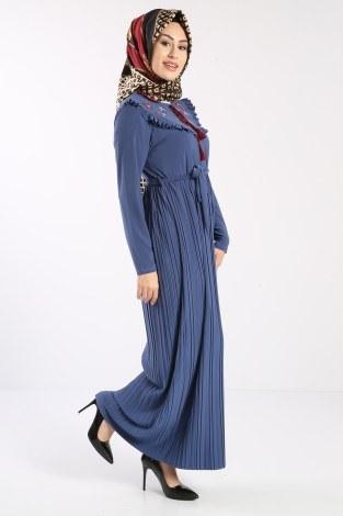 - Piliseli Nakışlı Elbise 1546-08