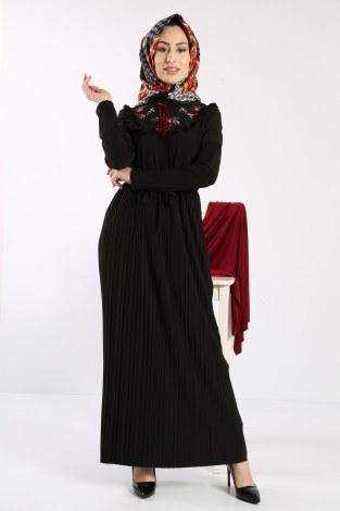 - Piliseli Nakışlı Elbise 1546-09