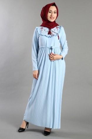 - Piliseli Nakışlı Elbise 1546-03