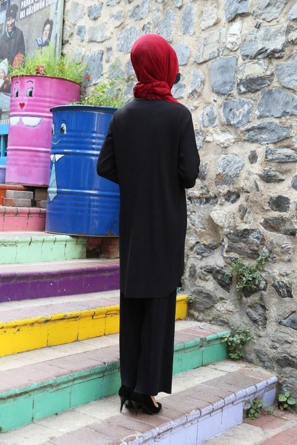 Piliseli Pantolon-Tunik Takım 4765-3 Siyah
