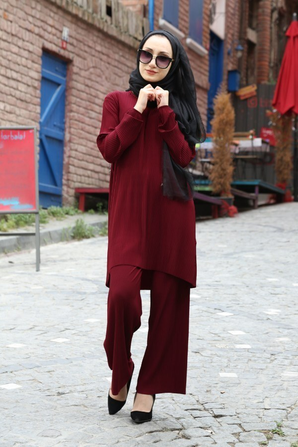 Piliseli Pantolon-Tunik Takım 4765-4 Bordo