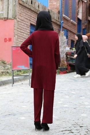 Piliseli Pantolon-Tunik Takım 4765-4 Bordo - Thumbnail
