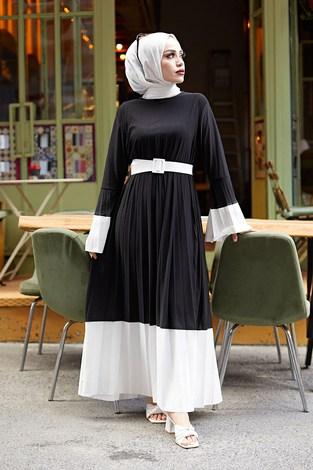 - Piliseli Sandy Elbise 8994-1 Siyah