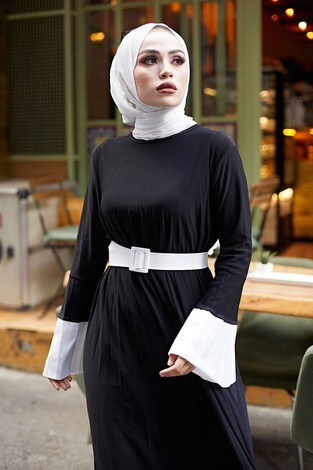 - Piliseli Sandy Elbise 8994-1 Siyah (1)