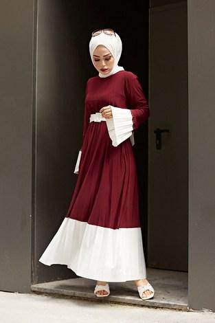 - Piliseli Sandy Elbise 8994-2 Bordo