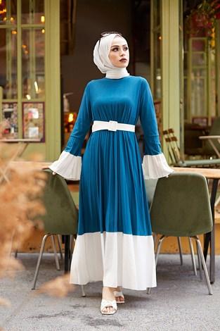 - Piliseli Sandy Elbise 8994-3 İndigo