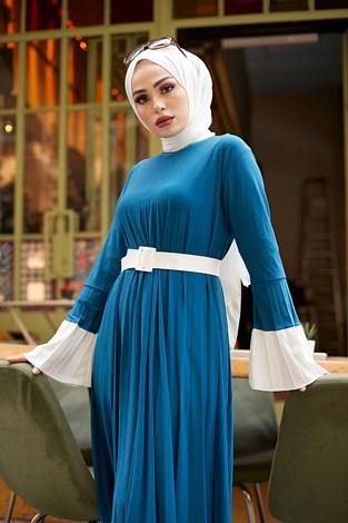 - Piliseli Sandy Elbise 8994-3 İndigo (1)