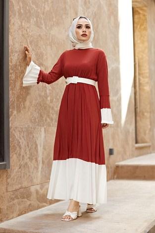 - Piliseli Sandy Elbise 8994-5 Kiremit