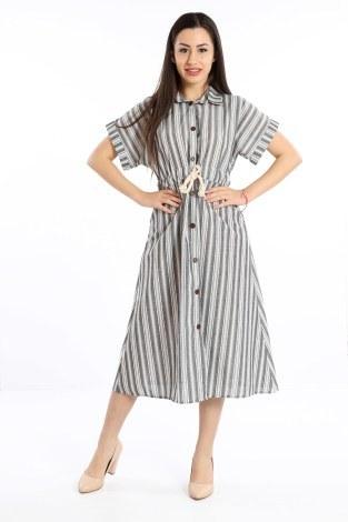 - Beli Bağcıklı Düğmeli Elbise 0375-01