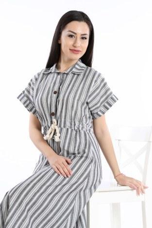 - Beli Bağcıklı Düğmeli Elbise 0375-01 (1)