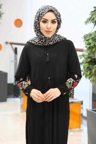 - Piliseli Elbise Elbise 9055-3-siyah (1)