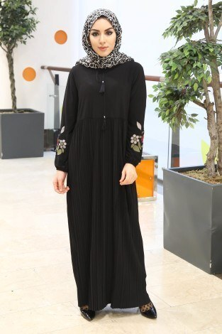 - Piliseli Elbise Elbise 9055-3-siyah