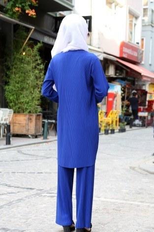 Piliseli Pantolon-Tunik Takım 4765-1 Saks - Thumbnail
