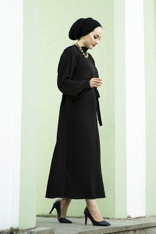 Pliseli Abiye Elbise Siyah - Thumbnail