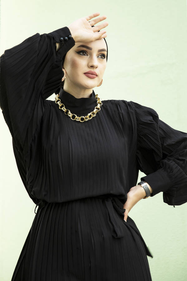 Pliseli Abiye Elbise Siyah