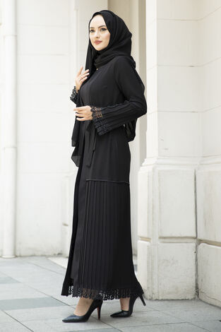 Pliseli Dantel Detaylı Abaya Siyah - Thumbnail