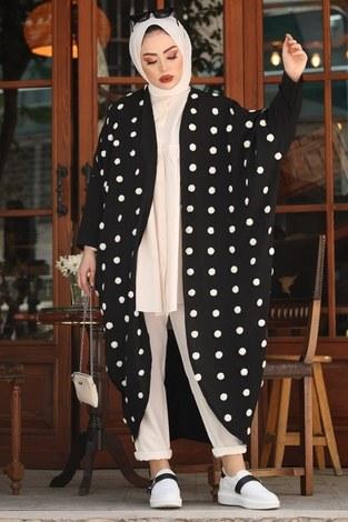 - Ponpon Detaylı Kimono 17644-1 Siyah