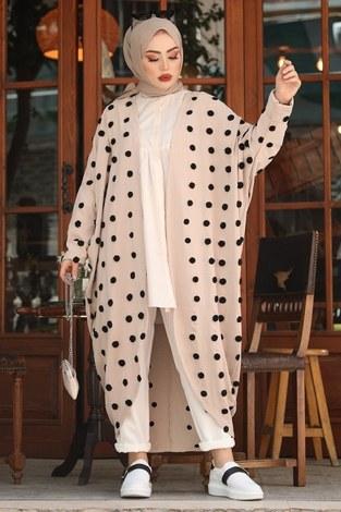 - Ponpon Detaylı Kimono 17644-2 Bej