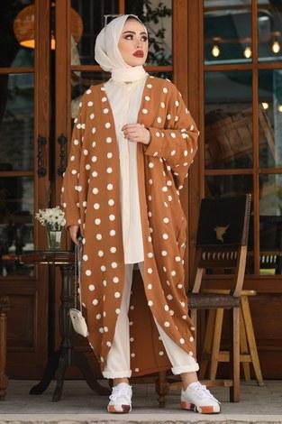 - Ponpon Detaylı Kimono 17644-3 Gül Kurusu