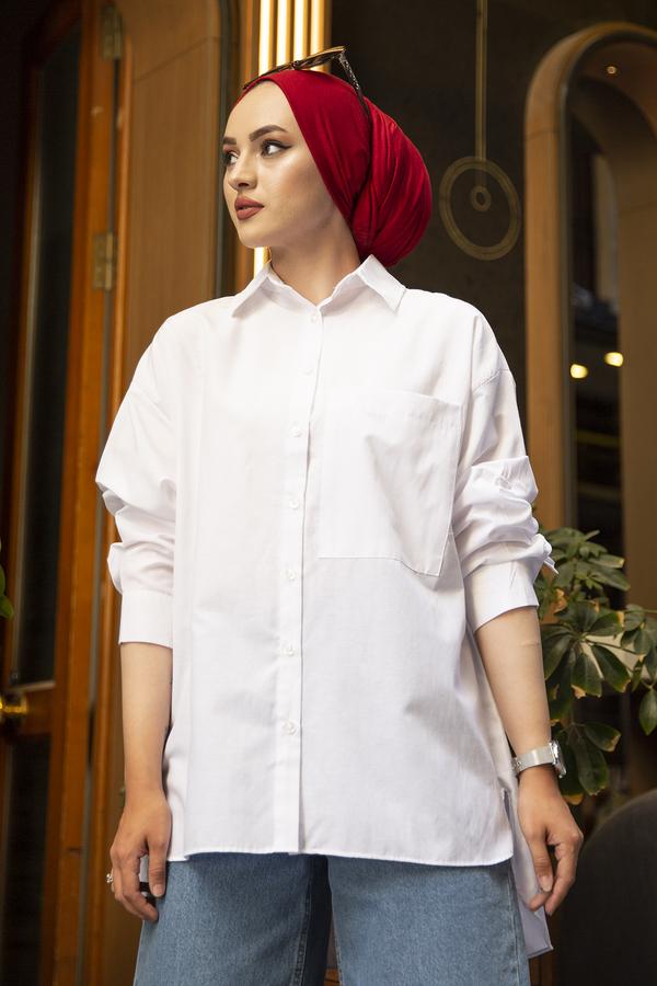Poplin Gömlek 190E-12068 Beyaz