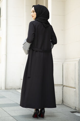 Pötikare Detaylı Abaya Siyah - Thumbnail