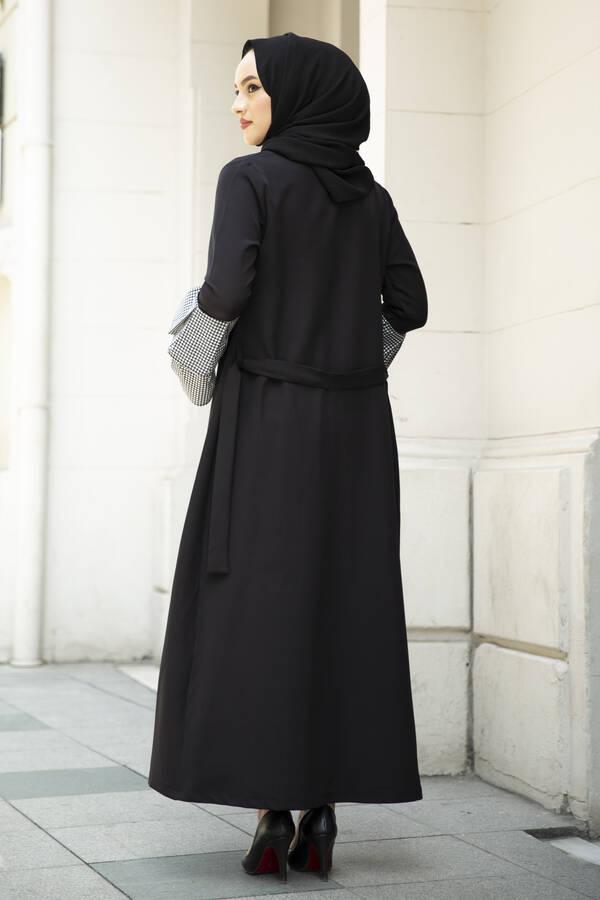 Pötikare Detaylı Abaya Siyah