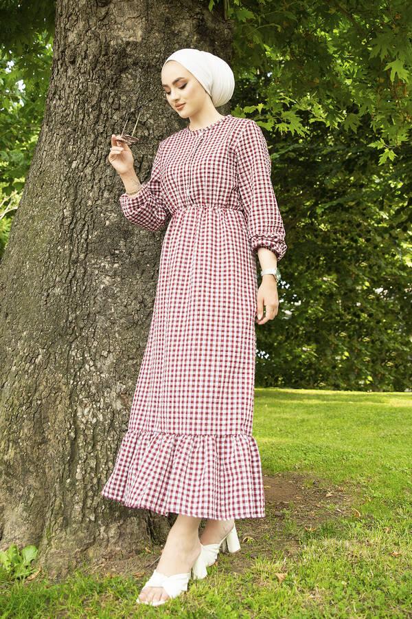 Prenses Elbise 190E-12023 Bordo