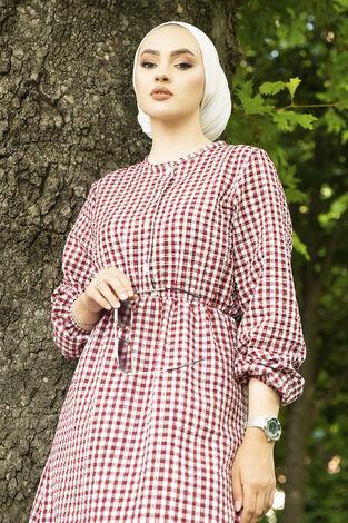 Prenses Elbise 190E-12023 Bordo - Thumbnail