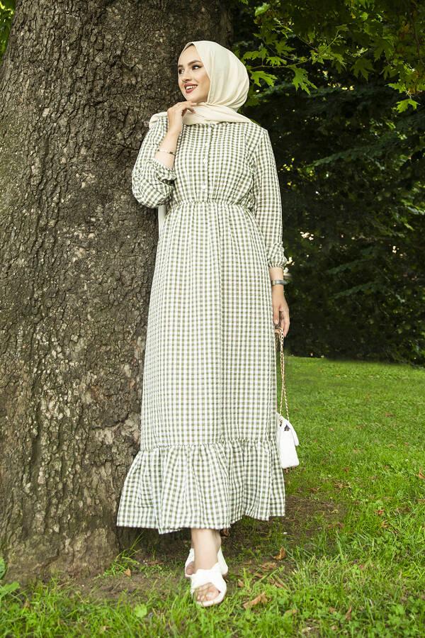Prenses Elbise 190E-12023 Yeşil