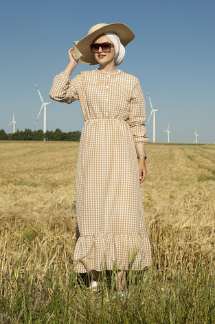 Prenses Elbise 190E-12023 Bej - Thumbnail
