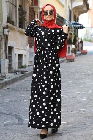 - Puantiye Desenli Elbise 8508-365
