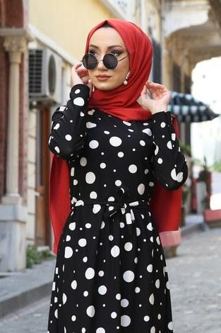 - Puantiye Desenli Elbise 8508-365 (1)