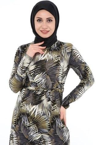- Yaprak Desenli Elbise 8508-367 (1)