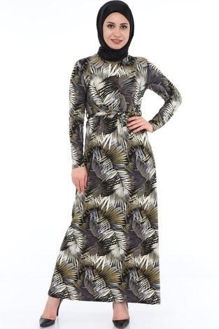 - Yaprak Desenli Elbise 8508-367