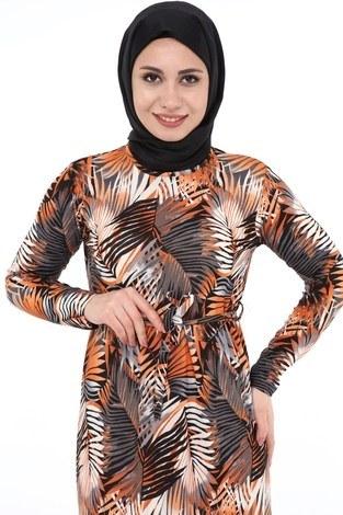 - Yaprak Desenli Elbise 8508-368 (1)