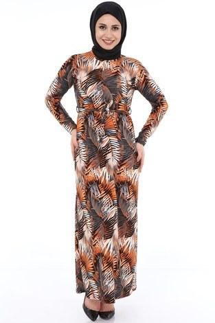 - Yaprak Desenli Elbise 8508-368