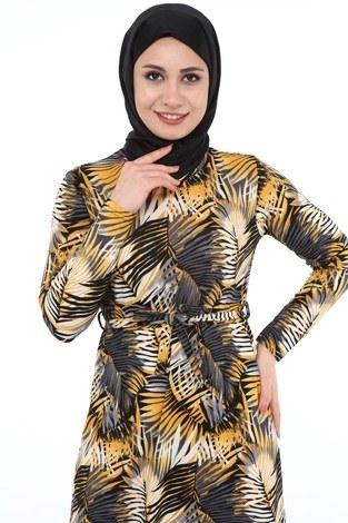 - Yaprak Desenli Elbise 8508-369 (1)