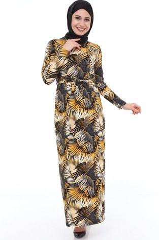 - Yaprak Desenli Elbise 8508-369