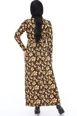 Çiçek Desenli Elbise 8508-370 - Thumbnail