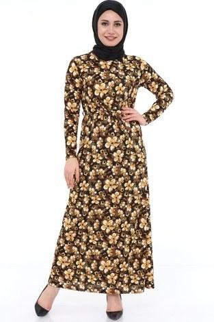 - Çiçek Desenli Elbise 8508-370