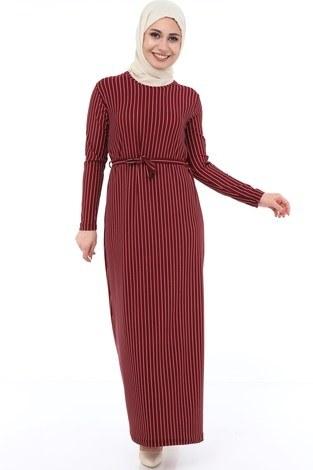 - Çizgi Desenli Elbise 8508-371