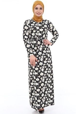 - Papatya Desenli Elbise 8508-372