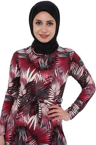 - Yaprak Desenli Elbise 8508-366 (1)