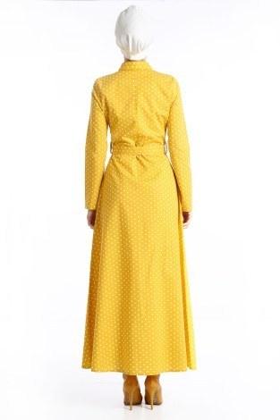 Puantiyeli Elbise 4123-02 - Thumbnail