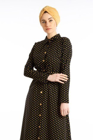 Puantiyeli Elbise 4123-04 - Thumbnail