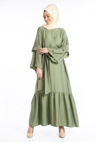 - Taş Detaylı Elbise 4075-01