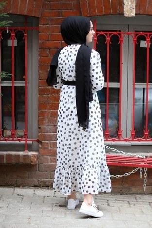 Puantiyeli Şifon Elbise 1253-1 - Thumbnail