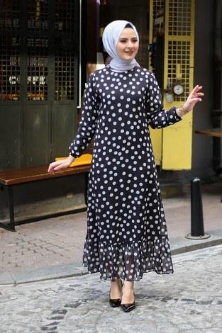 Puantiyeli Şifon Elbise 1253-2 - Thumbnail
