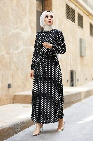 - Puantiyeli Tesettür Elbise 8508-78