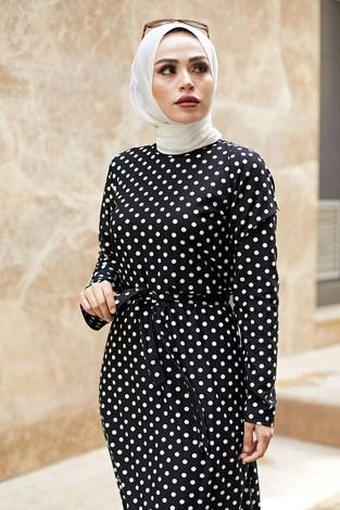 - Puantiyeli Tesettür Elbise 8508-78 (1)